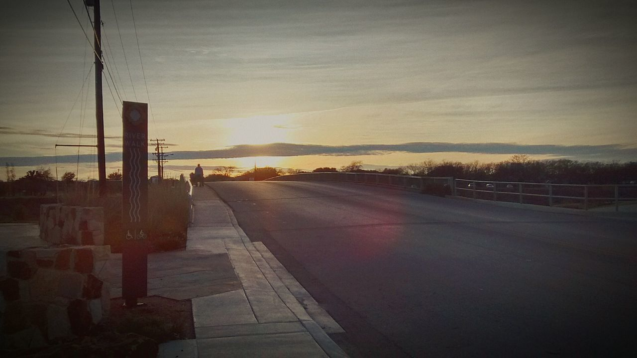 sky, road, sunset, transportation, built structure, no people, outdoors, nature, architecture, city, day