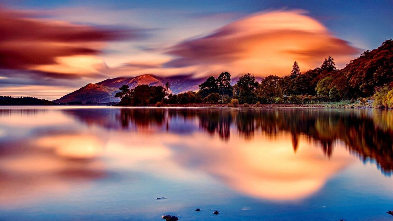 beauty in nature, reflection, scenics, tranquil scene, nature, lake, water, mountain, tranquility, sky, sunset, cloud - sky, tree, no people, outdoors, day