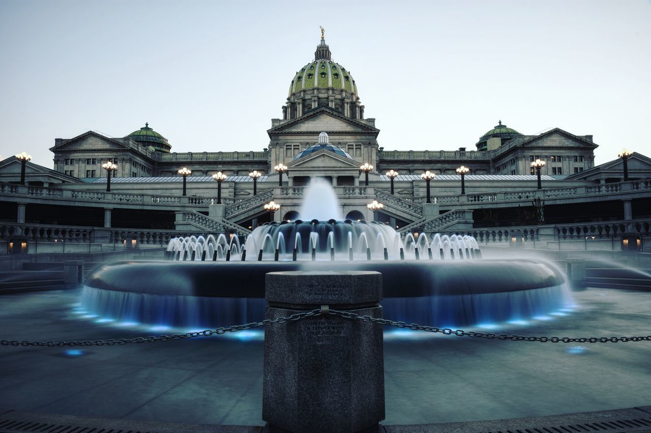 Blue Symmetry. Find me on IG @SaltyDogPhoto. Let me know you are from EyeEm! Harrisburg, Pa Pennsylvania State Capitol Capitol Capitol Building Pennsylvania Pennsylvania Beauty Blue Long Exposure Water Fountain Fountain Water Government Government Building Clear Sky Exterior Outdoors Symmetry EyeEm Best Edits Nikonphotography Harrisburg Architecture EyeEm Gallery City Urban Urban Geometry