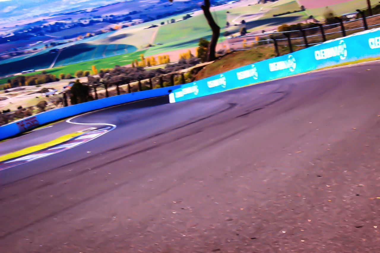 Bathurst Australia Mount Panorama Motorsport Empty Racetrack Road Car Transportation Outdoors Day Land Vehicle Travel Destinations No People Sky Nature Landscape_Collection V8 Supercars  View From Above Sports Venue Close-up S Bends Skidmarks Racetrack Perspective ...