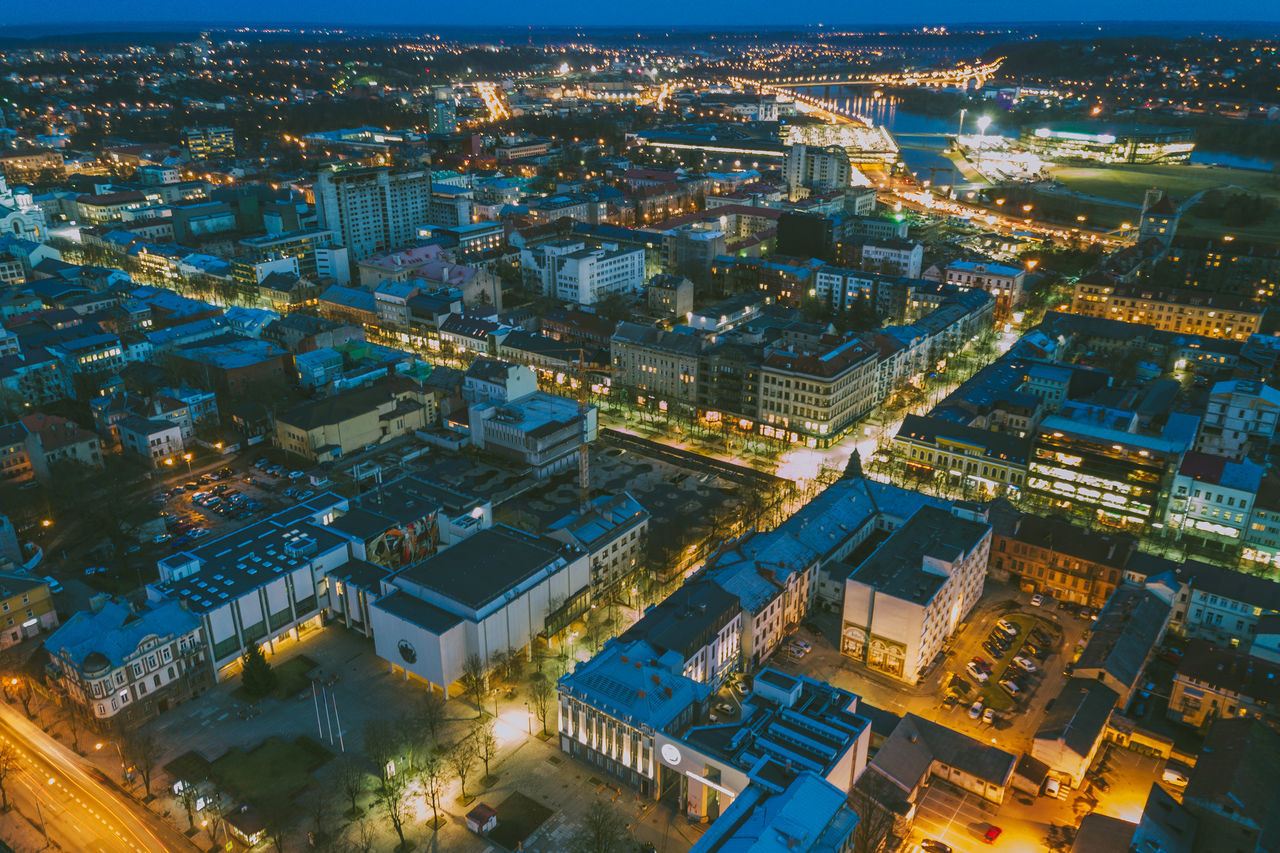 City at Night Aerial View Architecture Building Exterior Business Finance And Industry City Cityscape DJI Mavic Pro Drones Dusk Illuminated Lietuva Mavic Mavic Pro Modern Night No People Outdoors Sky Spring Street Travel Destinations Urban Road Urban Skyline