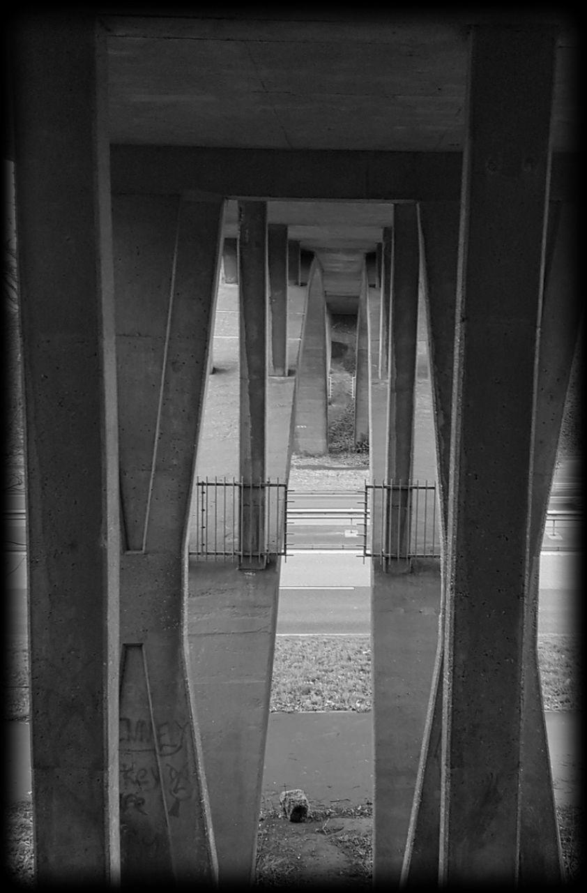 underneath, architecture, bridge - man made structure, connection, built structure, architectural column, below, day, indoors, no people, under