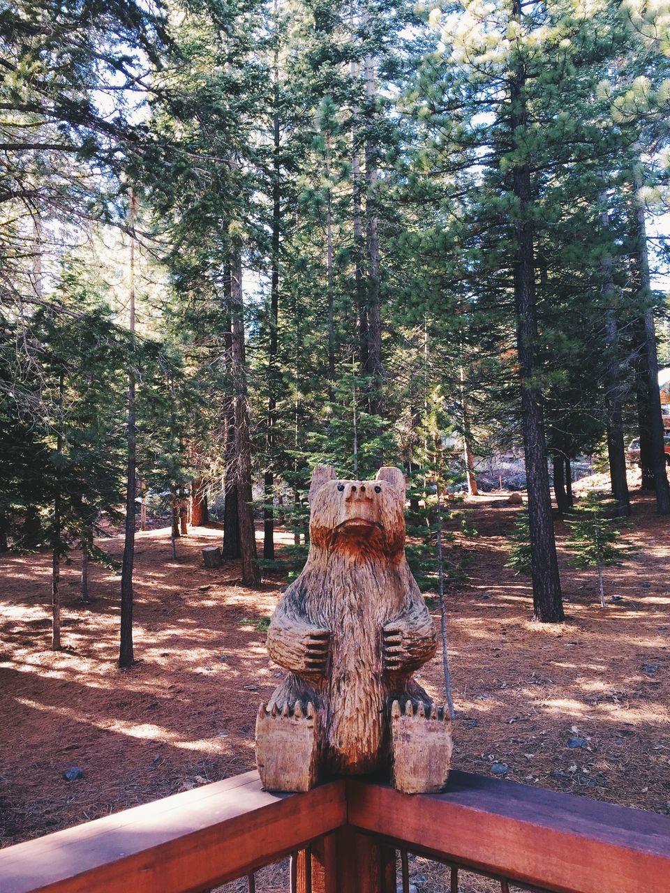 Wooden Statue On Railing Against Forest