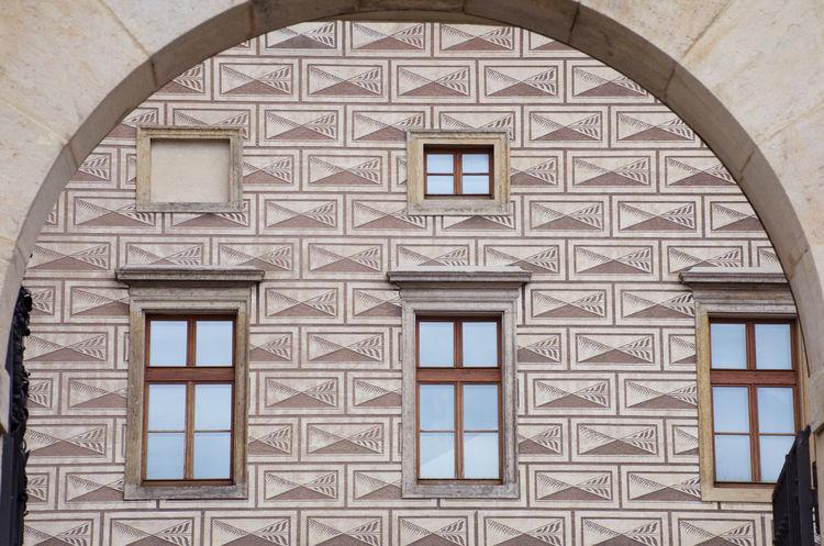 Geometric patterned Walls Painted Prague Prague Czech Republic Rectangles Architecture Brown Built Structure Geometric Pattern Pattern Stone Window
