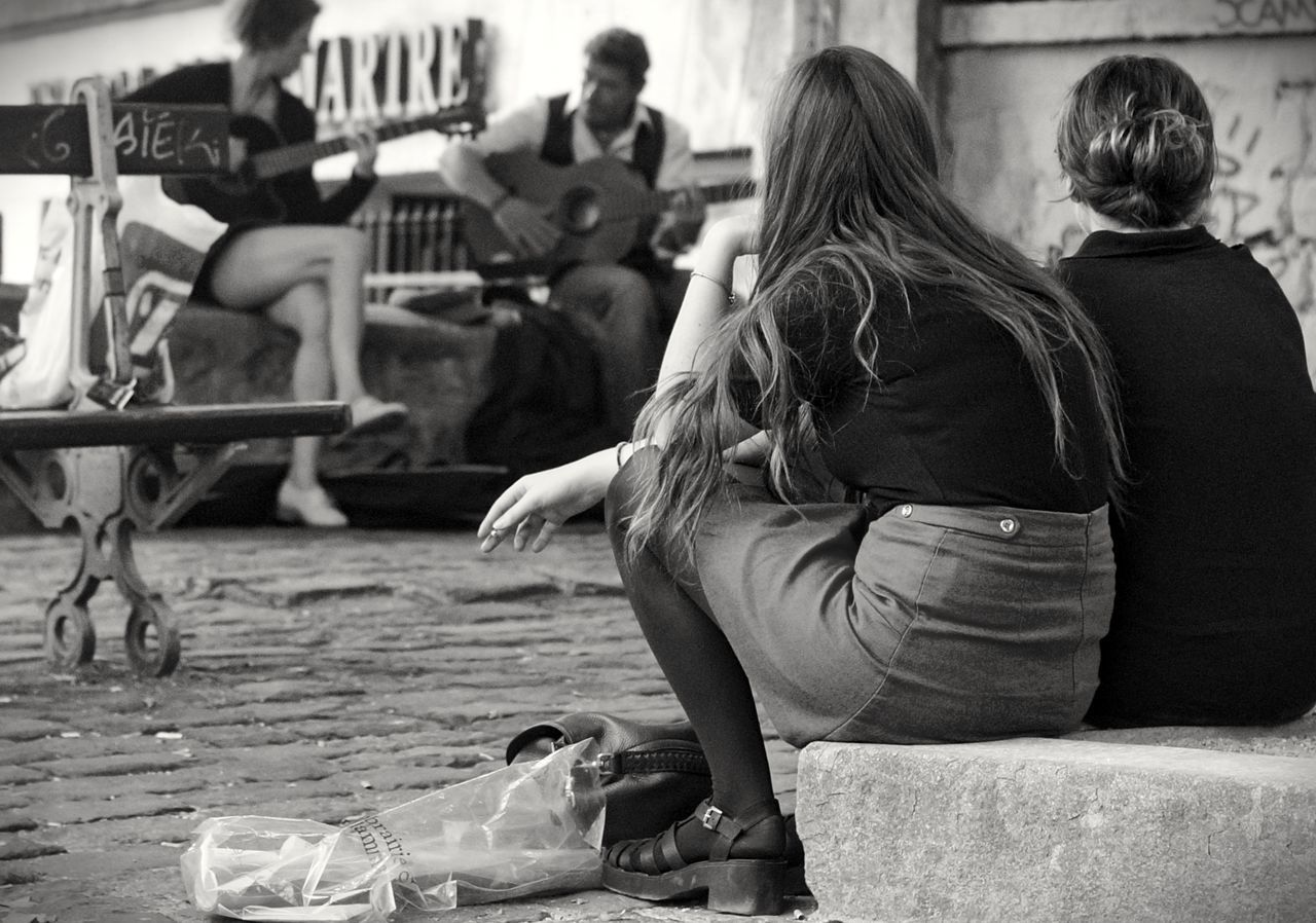 Beautiful stock photos of guitar, Arts Culture And Entertainment, Bench, Casual Clothing, Day