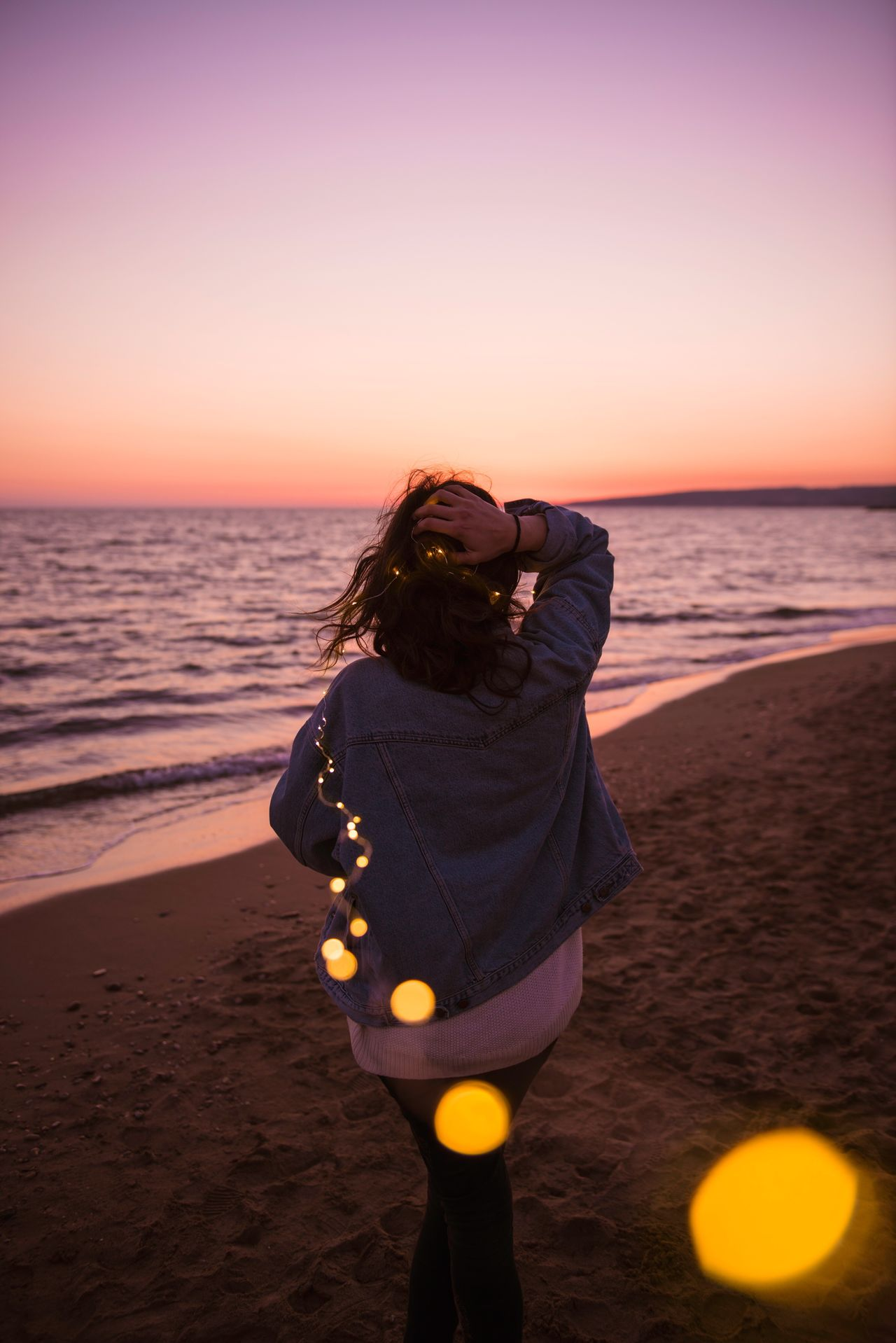 Long Goodbye Sea Sunset Beach One Person Horizon Over Water Holding Camera - Photographic Equipment Outdoors Clear Sky Adult People Water One Woman Only Adults Only Nature Sea And Sky Young Adult Only Women Day