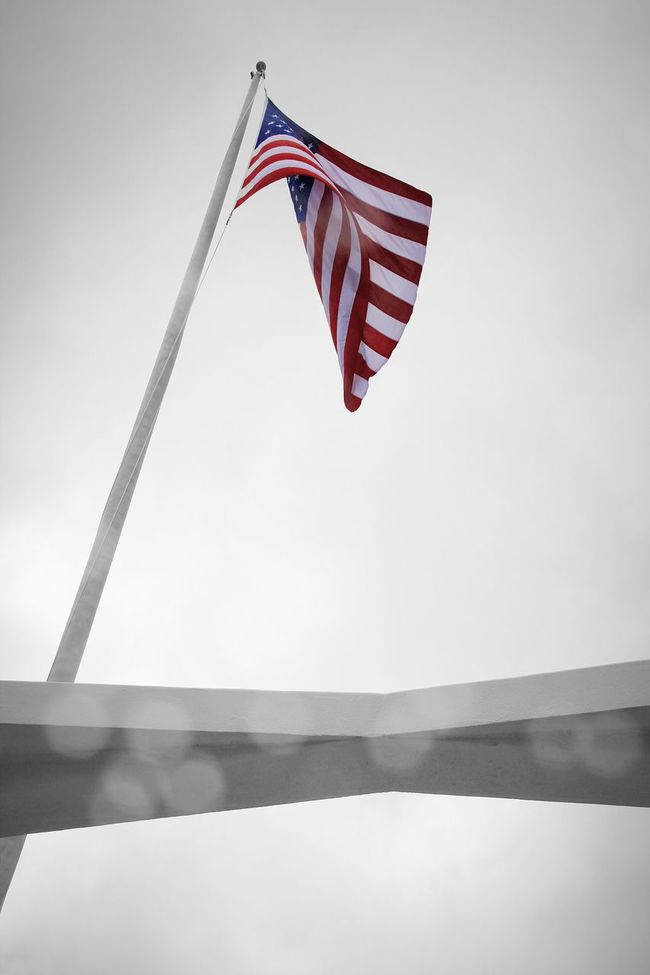 Identity Flag Low Angle View Patriotism National Flag Striped American Flag Sky Culture Day Outdoors No People Pearl Harbor Hawaii Uss Arizona Memorial Uss Arizona Concretedesign Concrete Ceiling Bouquet Travel Photography Traveling Patriotism Harbor High Section