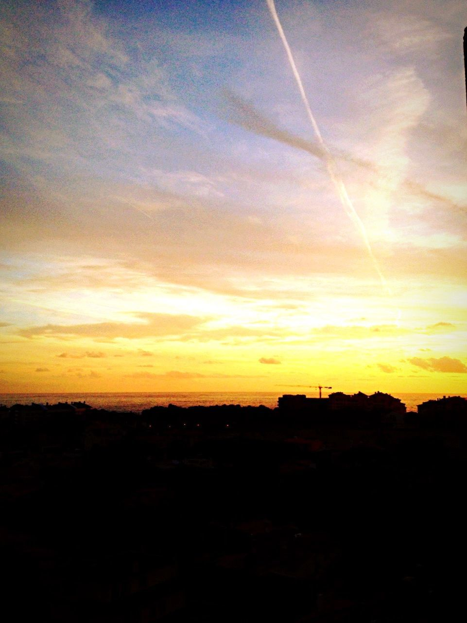 sunset, silhouette, no people, sky, vapor trail, nature, scenics, sun, beauty in nature, landscape, contrail, outdoors, day