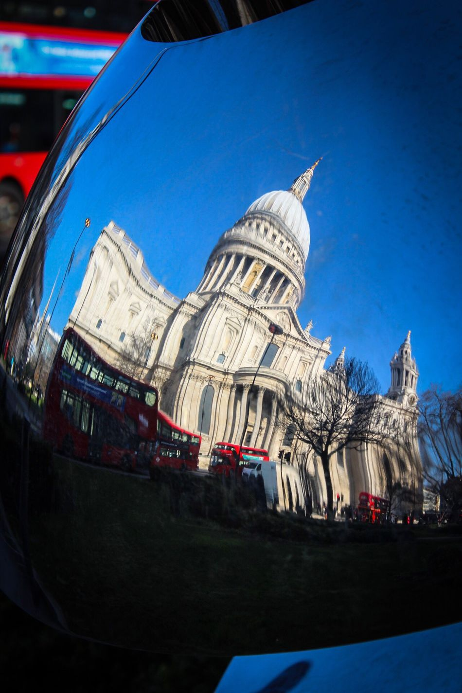 Architecture Built Structure Blue Building Exterior Transportation City Dome Low Angle View Outdoors Day No People Sky Place Of Worship Cathedral Tourist Attraction  City Convex Mirror Distortion Reflection London St Paul's Cathedral Everyday Travel Destinations Londonbus