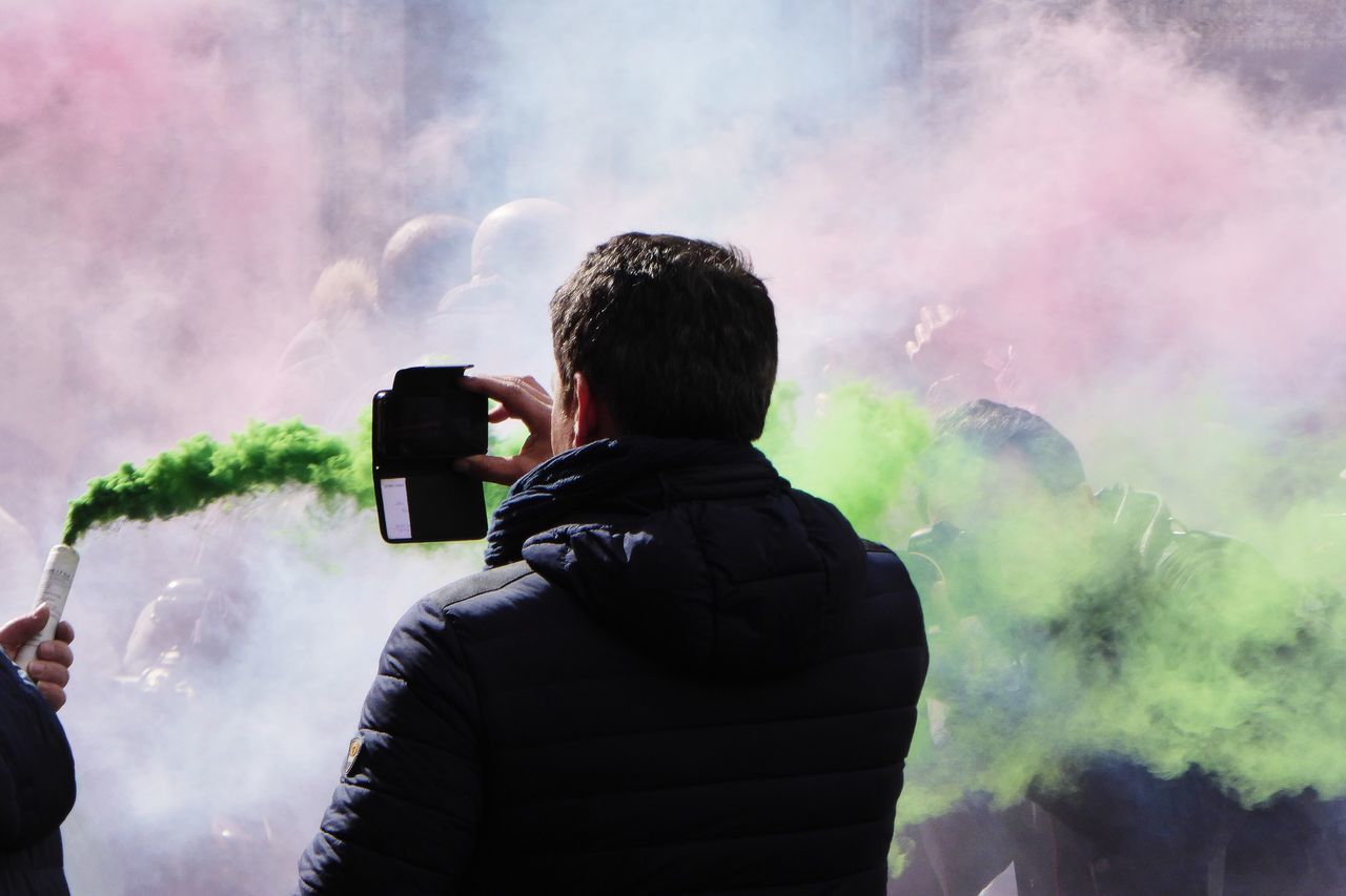 Man Demonstration Taking Photos Smoke Silhouette Hanging Out Green Color Green Smoke