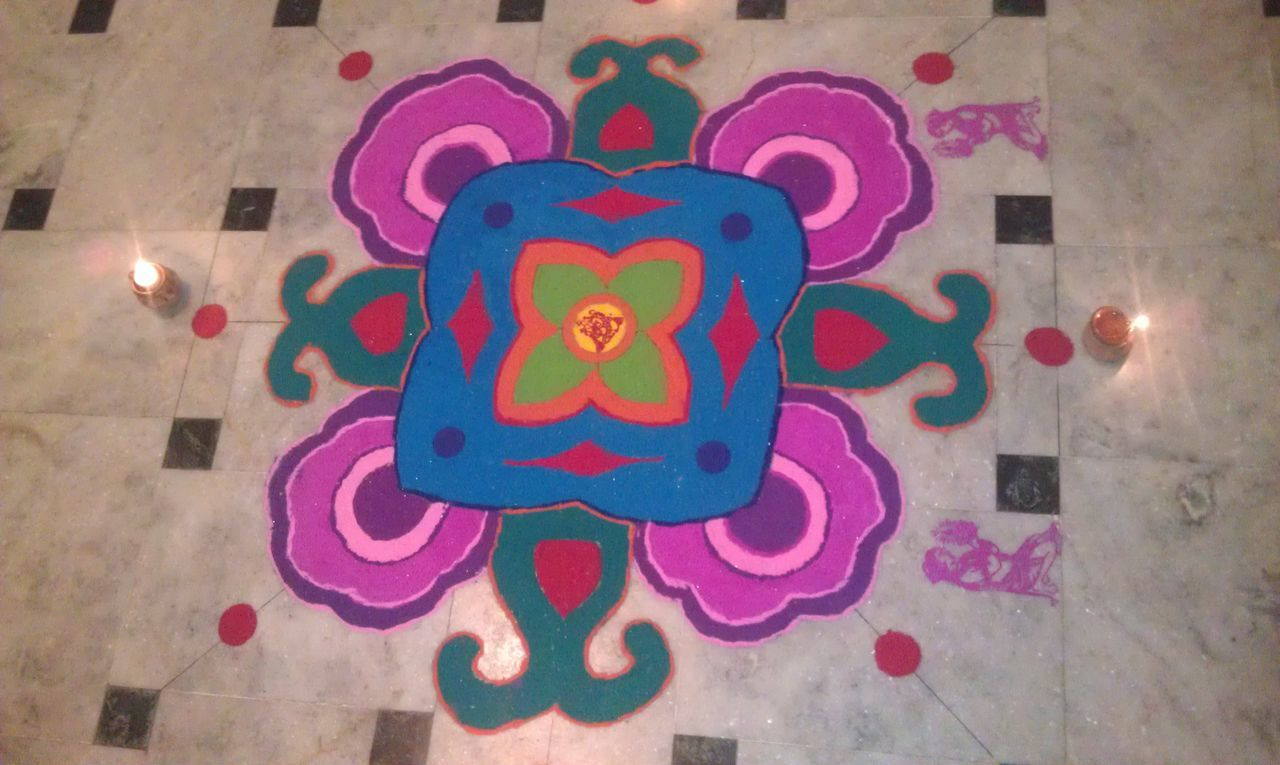 Religion Art Colorful Rangoli.