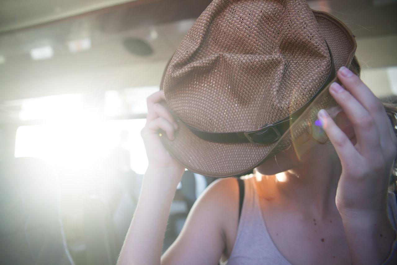 Beautiful stock photos of sunshine, Bus, Caucasian Ethnicity, Front View, Hat