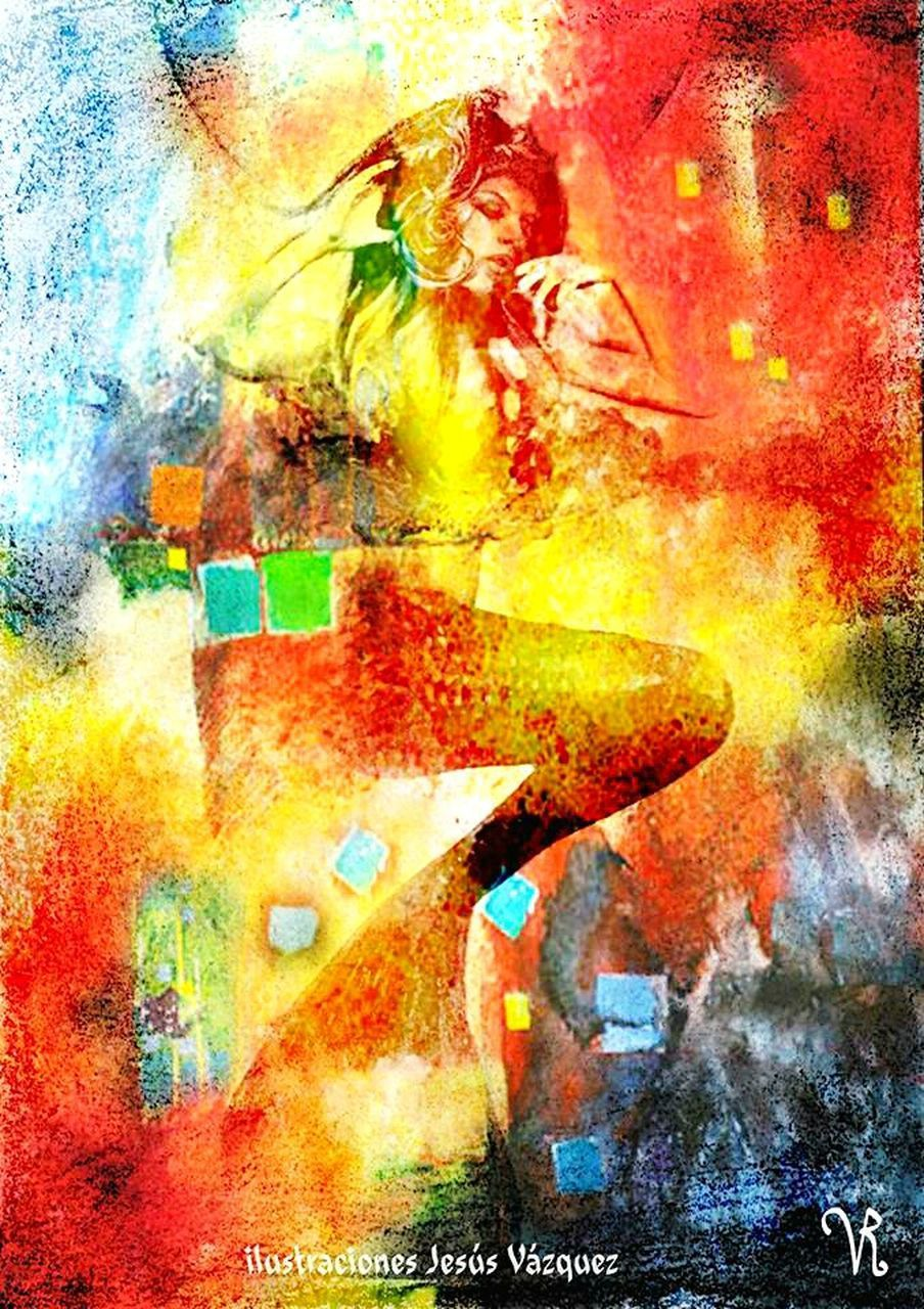 abstract, multi colored, paint, red, backgrounds, yellow, painted image, fine art painting, close-up, people, adult, outdoors