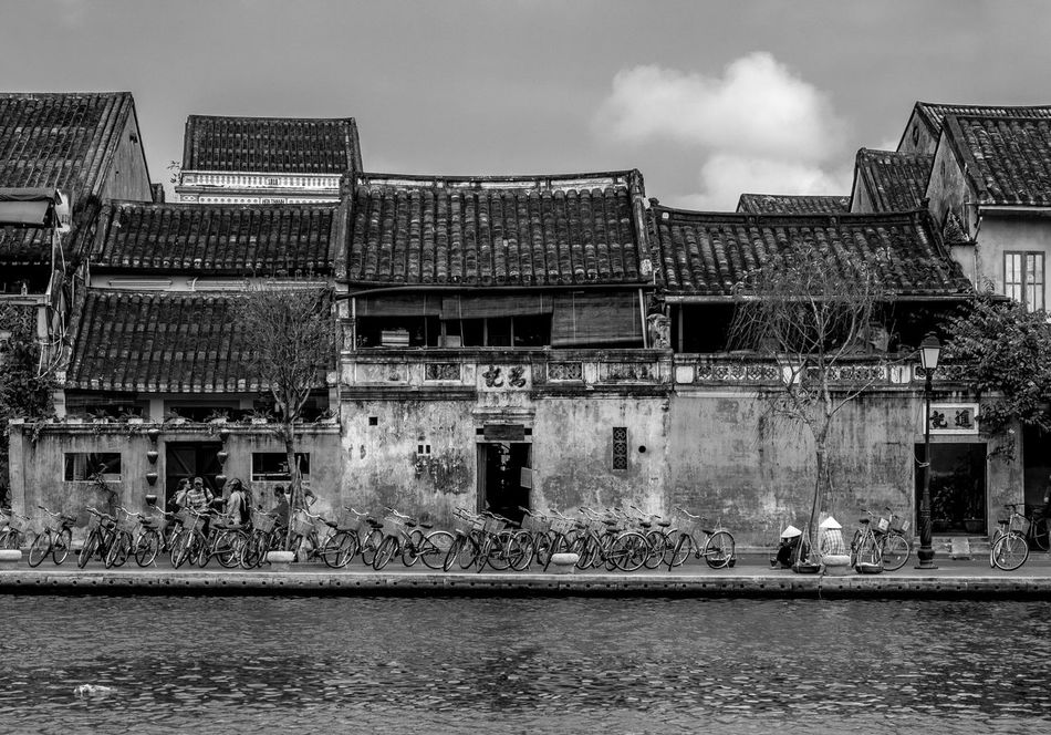 Riverside Houses, Hoi An, Vietnam Architecture FUJIFILM X-T2 Water Vietnam Black And White Hoi An Monochrome Photography Building Exterior Monochrome River