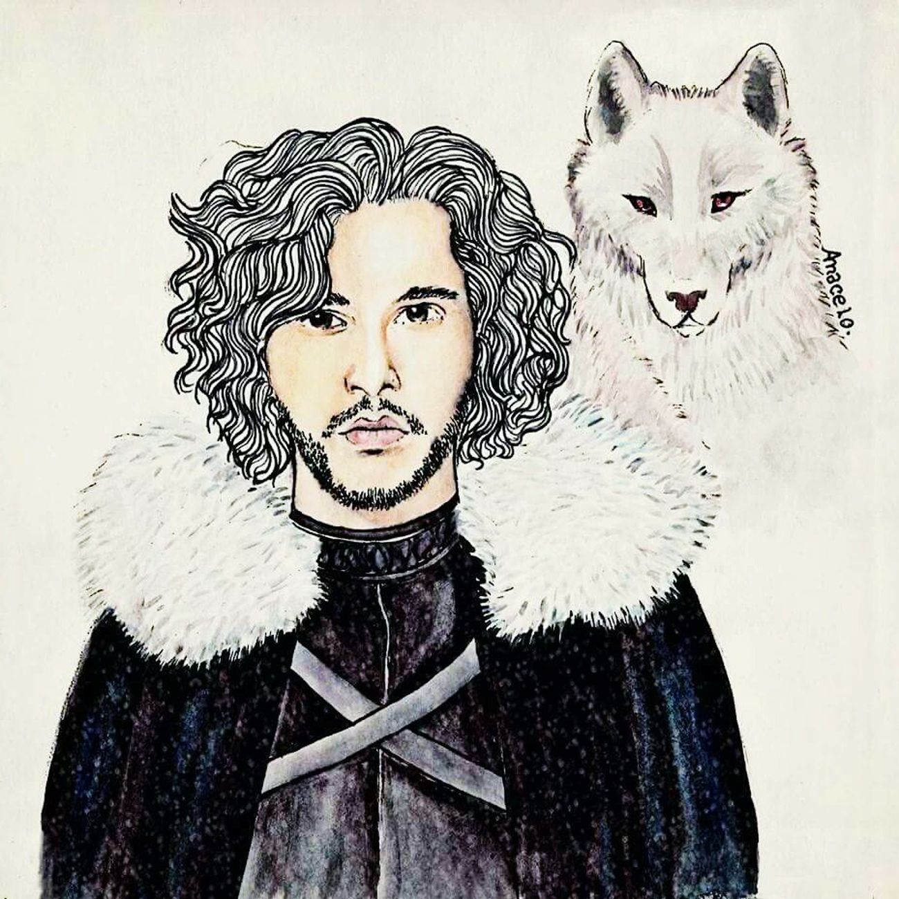 😢😢😢 Illustration Fanart JonSnow Got Drawing ByMe OldButGold Watercolor