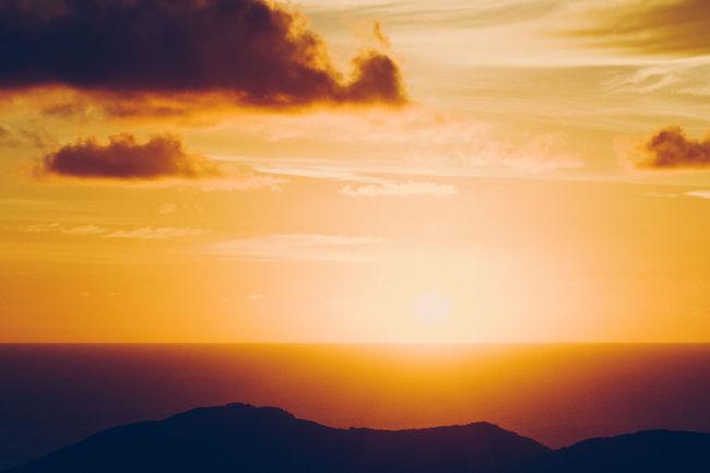 Beauty In Nature Calm Cloud - Sky Horizon Over Water Idyllic Landscape No People Non-urban Scene Orange Outdoors Scenics Sky Sun Sunrise Sunrise Over Water Sunset Sunset Over Water Tourism Tranquil Scene Travel Destinations Vacation Vibrant Virgin Gorda Water Yellow