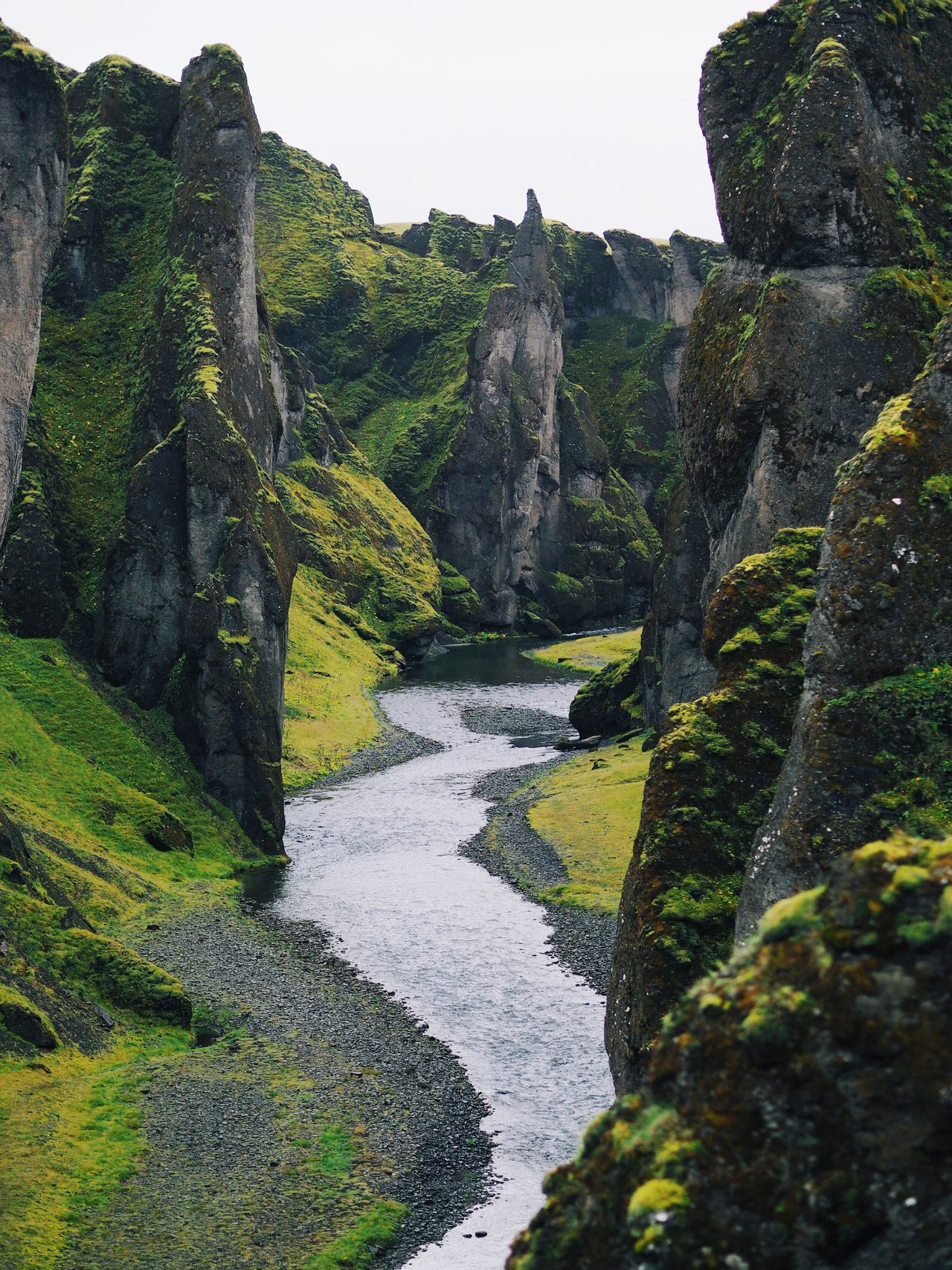 rock - object beauty in Nature landscape outdoors Nature water mountain river canyon at Fjadrargljufur Iceland miles away