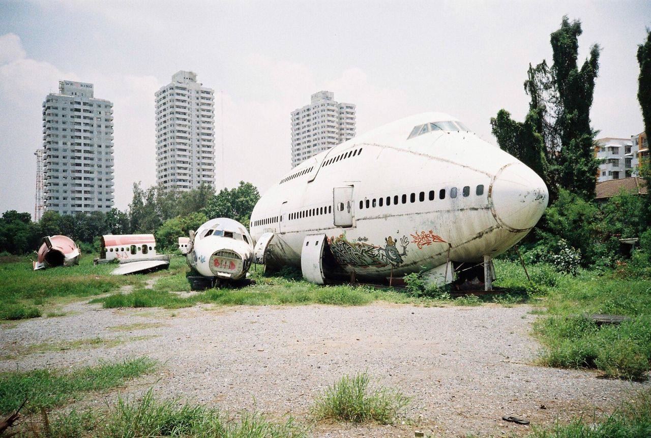 airplane Transportation building exterior Architecture built structure mode of transport day Tree outdoors sky no people Nature filmphotography Lomography first eyeem photo