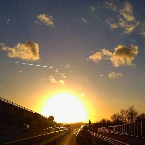 Sun Sunset Photoarena_sunset Roadtrip Road Cloud Clouds Street Skyisburning Sky Heaven Shades Shadow Autobahn A7 Highway