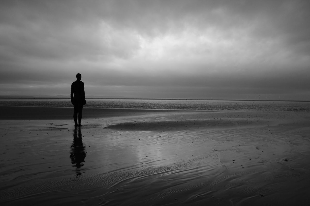 Beach Beauty In Nature Black & White Blackandwhite Cloud - Sky Crosby Beach Day Horizon Over Water Leisure Activity Men Monochrome Outdoors Rear View Sand Scenics Sea Shore Sky Standing Statue Statues Tranquil Scene Tranquility Water
