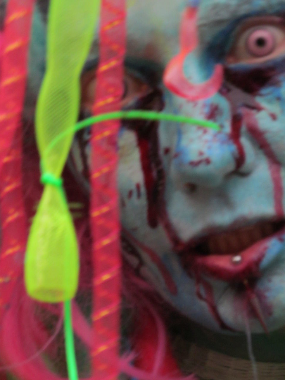 multi colored, close-up, one person, celebration, human face, childhood, day, indoors, clown, people