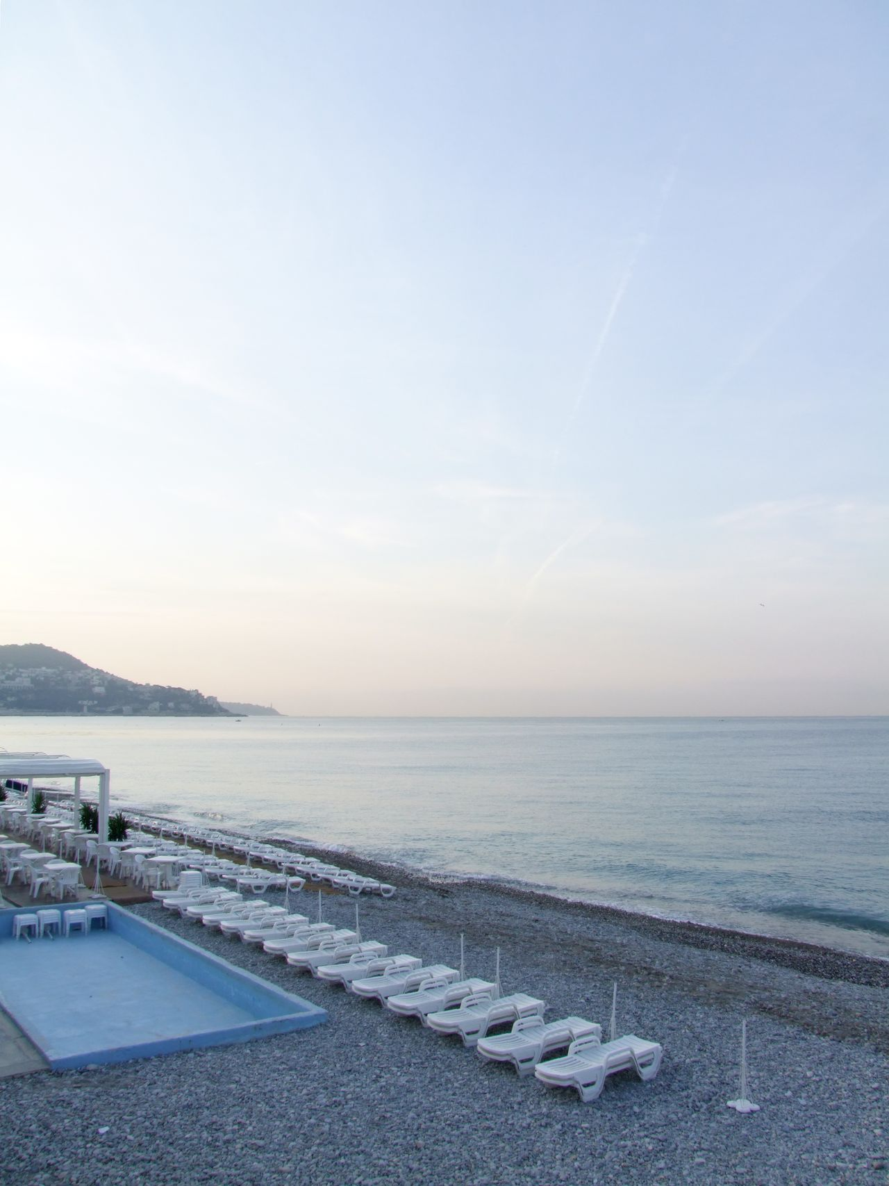 Cote d'Azur Beach Beach Beauty In Nature Coast Côte D'Azur Day Hills Horizon Over Water Lounger Mediterranean  Mediterranean Sea Morning Morning Light Nature Nizza No People Outdoors Scenics Sea Sky Spring Summer Sun Lounger Tranquil Scene Tranquility Water