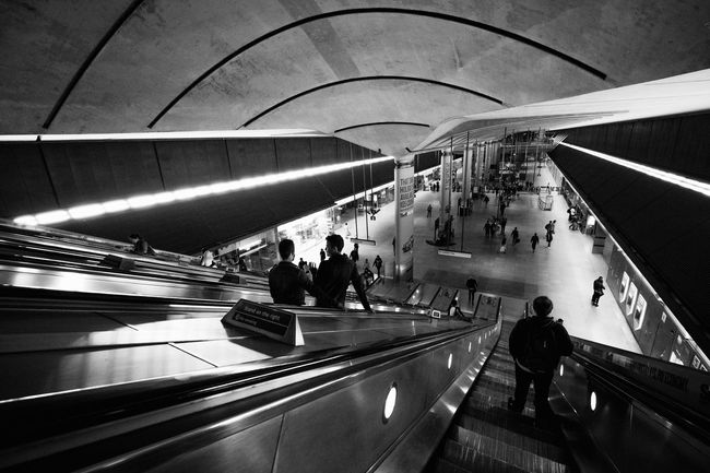 London Underground Architecture Black And White Blackandwhite City Life Escalator Film Noir London London Underground Modern Noir Public Transportation Subway Subway Station The Architect - 2016 EyeEm Awards
