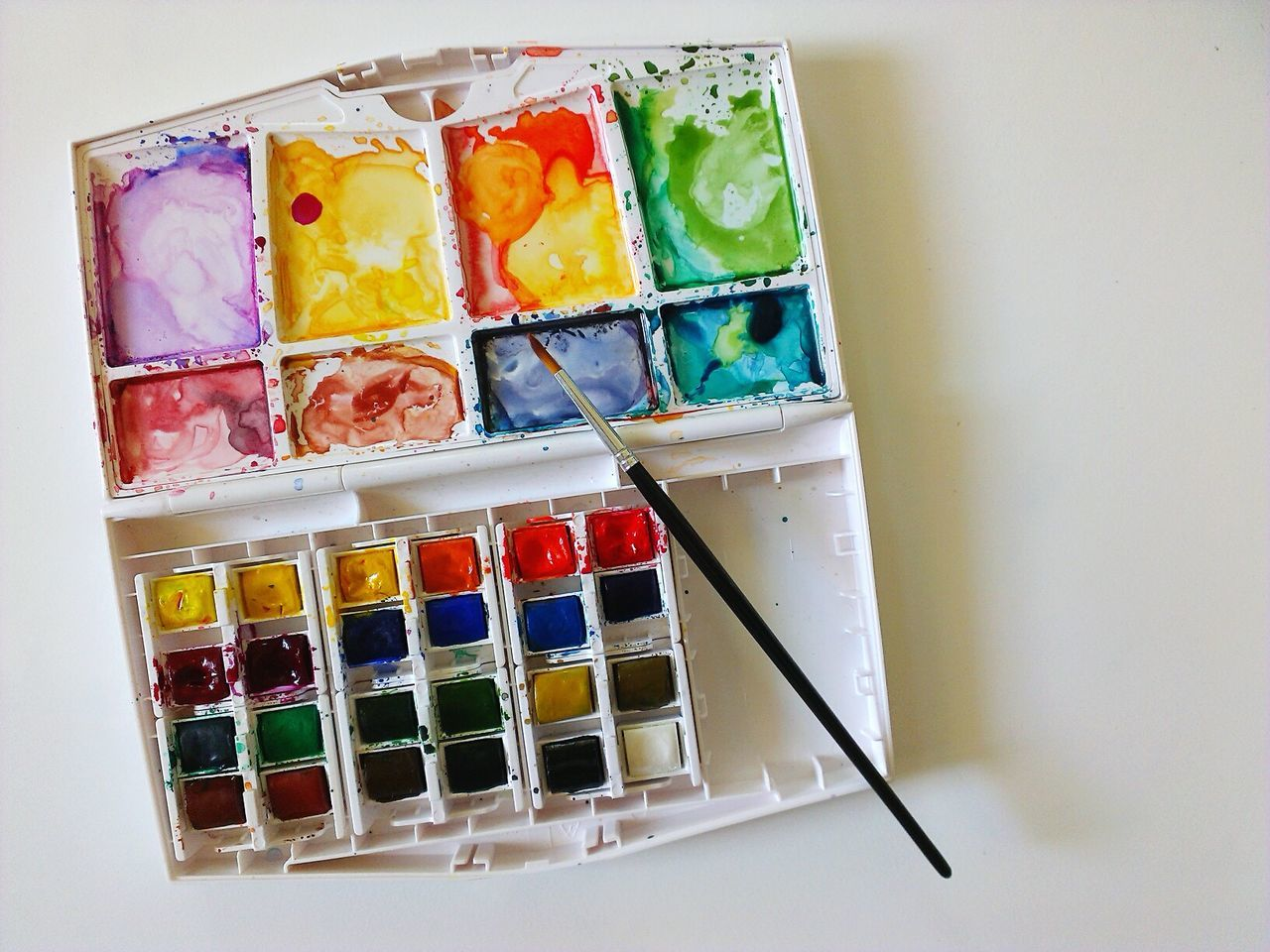 Studio Shot Multi Colored No People Close-up White Background Indoors  Mobile Photography Watercolor Paints High Angle View Watercolor Painting Arts And Crafts Artsy Creativity Copy Space Watercolor