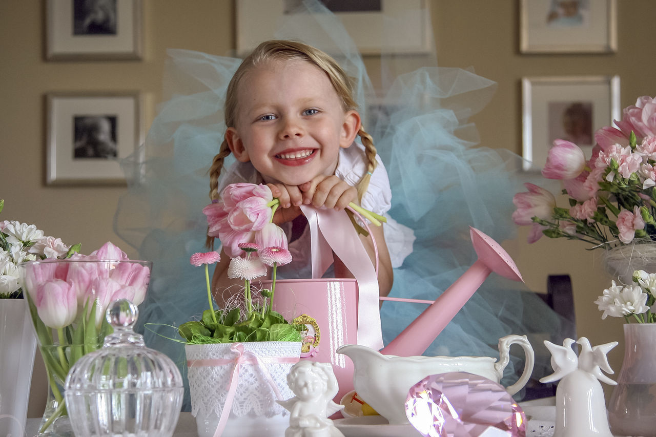 Beautiful stock photos of tulip,  10-11 Years,  Bell,  Blond Hair,  Bouquet