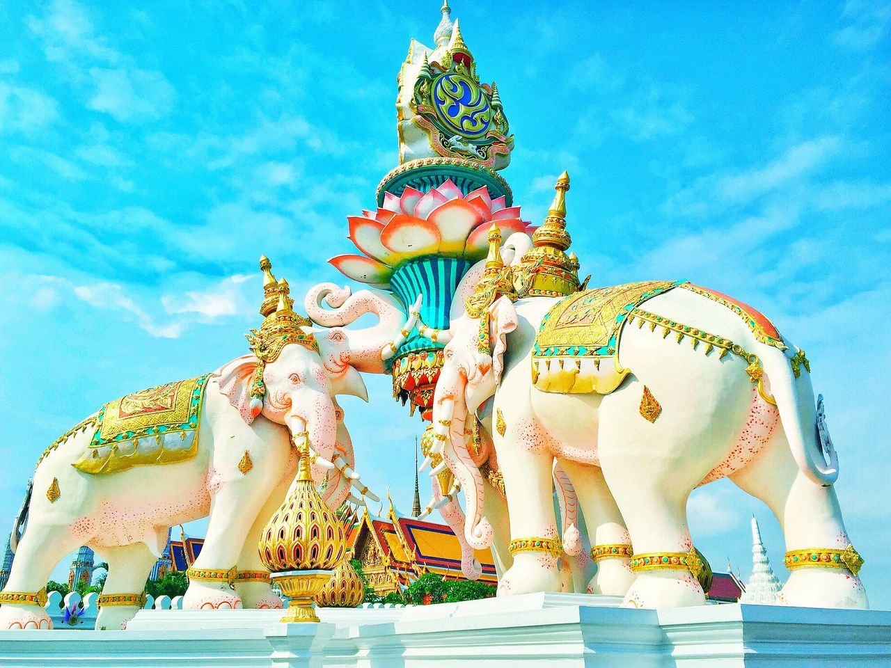 Bangkok Thailand by Jil Diamante. Statue Sky Low Angle View Sculpture Outdoors No People Day Chinese Dragon Grand Palace Bangkok Thailand Elephant The EyeEm Collection Travel Asian Culture ASIA
