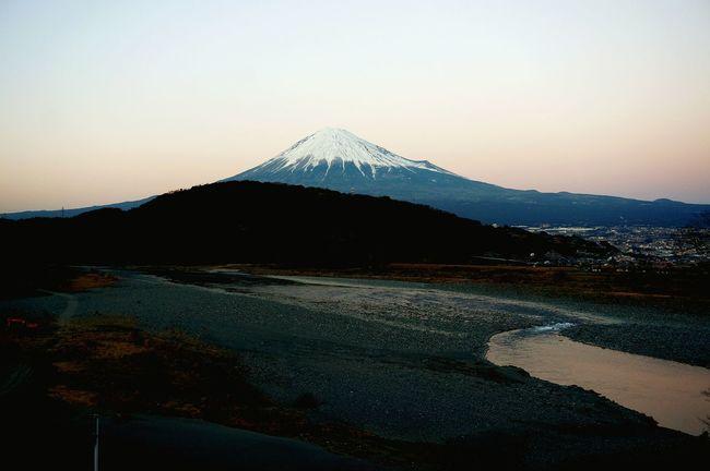 富士川と富士山 Mt.Fuji Fujikawa Gloaming Mountain Japan