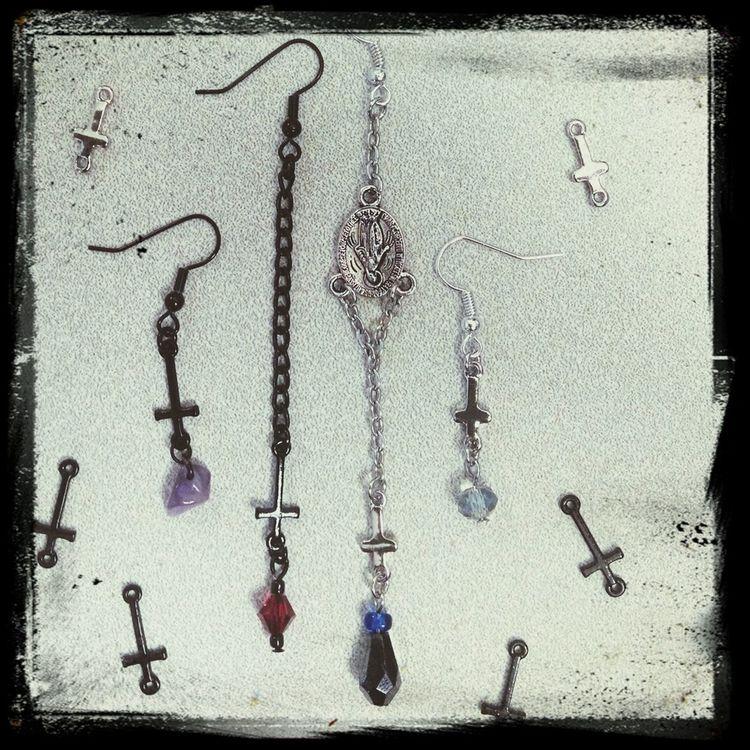 New earrings. Jewelry Handmade Inverted Cross