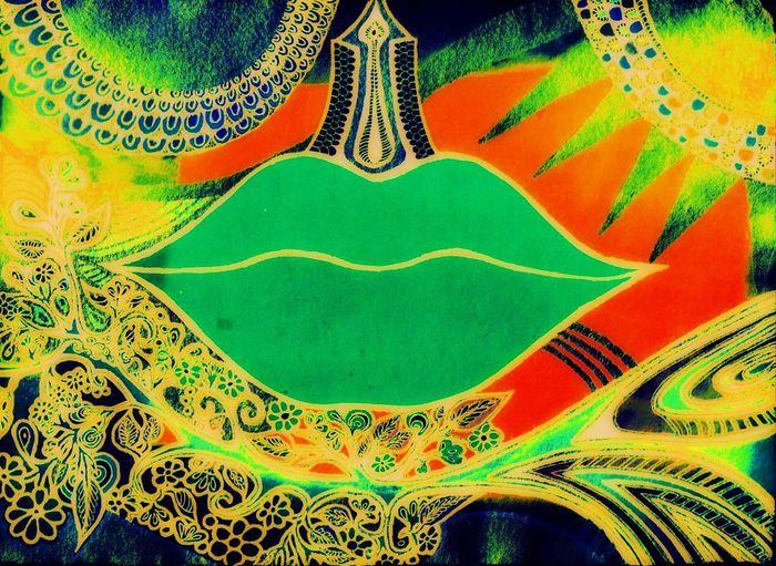 inspired by Green Tara , Poetry In Pictures Abundance Lips, Art Ink Colors Cosmic Life Magical Original Art