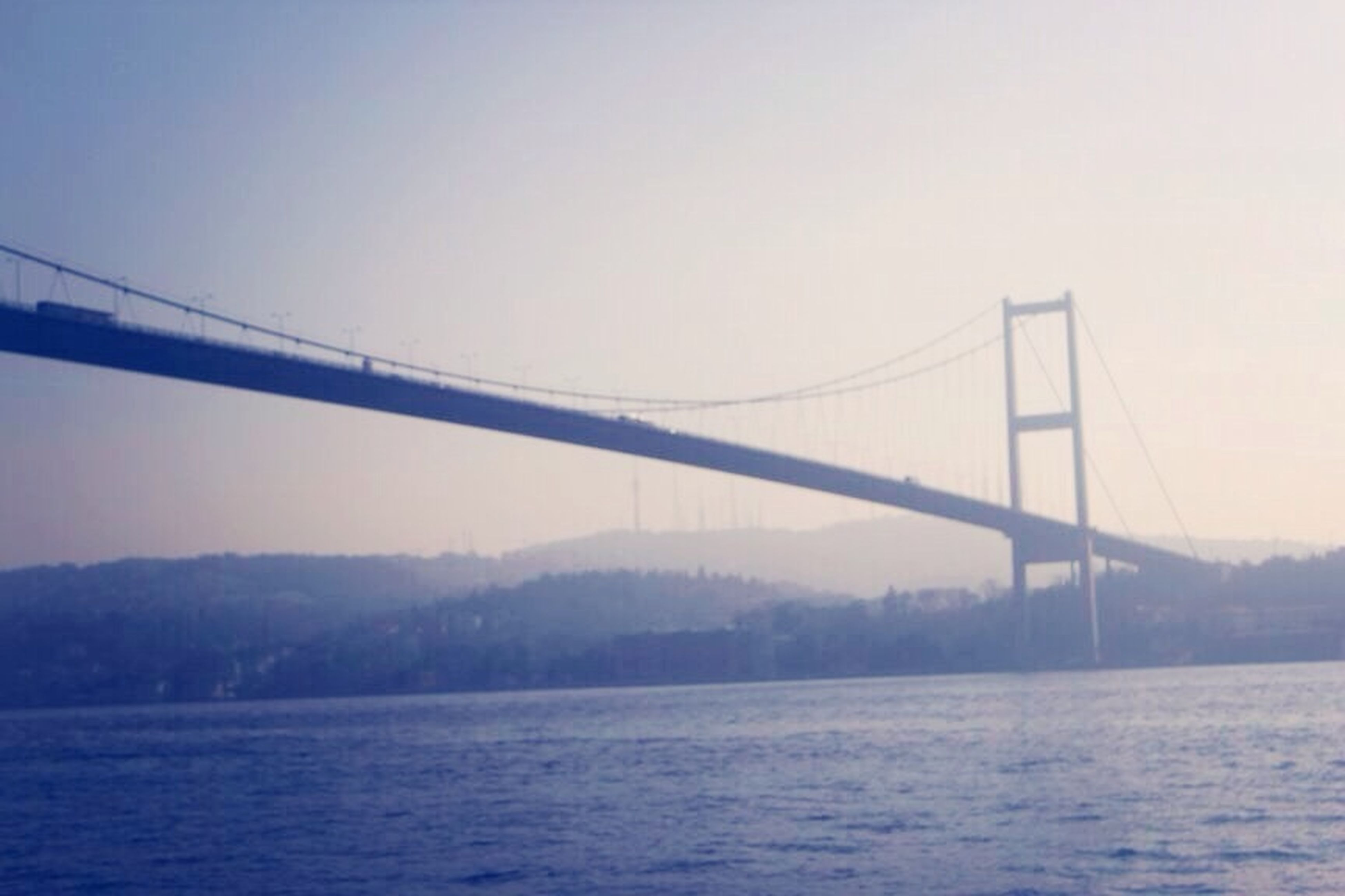 connection, bridge - man made structure, water, clear sky, waterfront, suspension bridge, built structure, engineering, copy space, river, bridge, architecture, transportation, sea, tranquility, nature, tranquil scene, sky, no people, outdoors