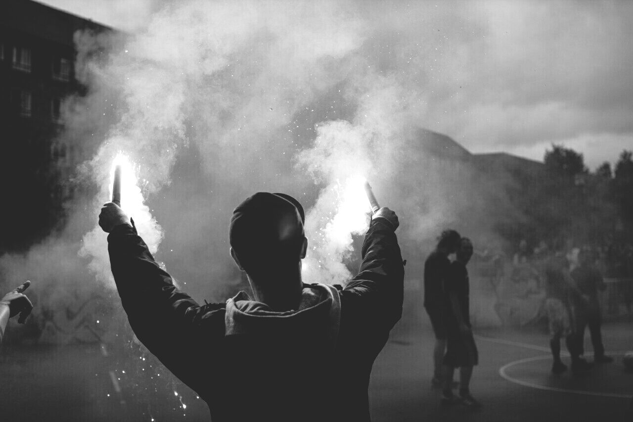 Beautiful stock photos of feuerwerk, real people, smoke - physical structure, men, lifestyles