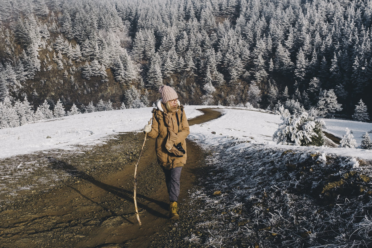 Adult Beauty In Nature Camera Cold Cold Temperature Countryside Day Forest Hiking Nature Nature One Person Outdoors Photographer Road Rural Snow Stick Tree Trekking Warm Clothing Winter Winter Woods