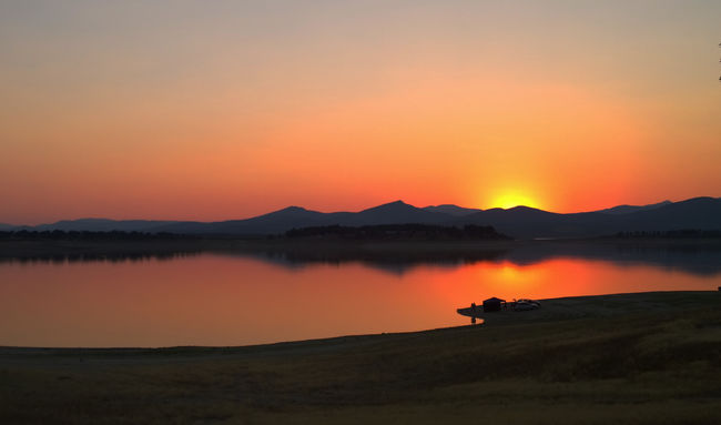 red sky Sunset Taking Photos Sky Shadow Landscape Sun Mountains Nature Water Photography