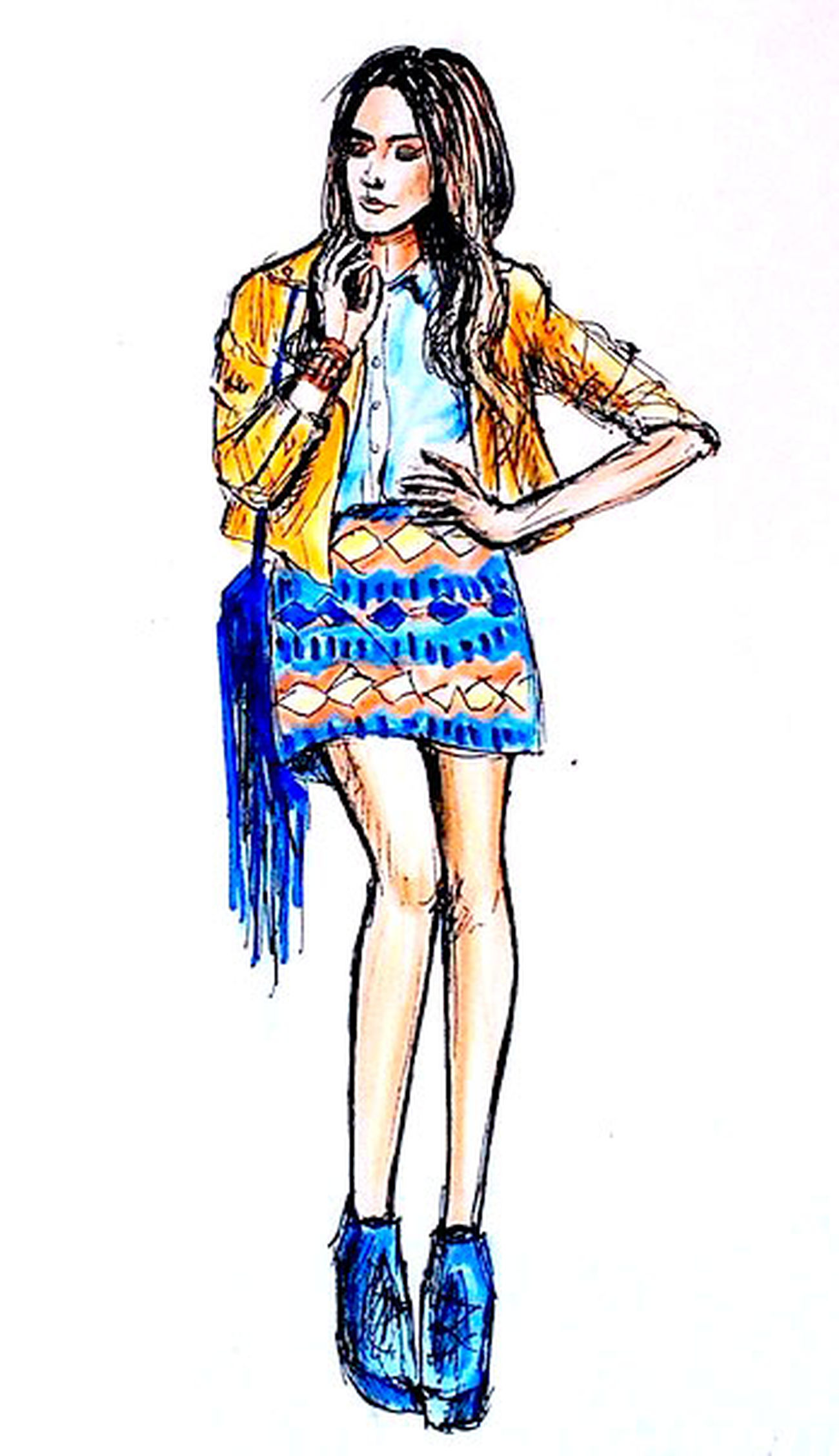 Quicksketch Fashionillustration Illustration Drawing Pen Colored Pencil