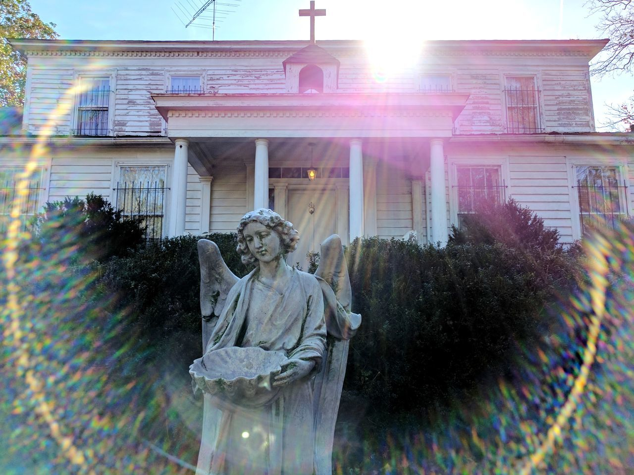 Statue Church Weird LenseFlare Outdoors Religious Images