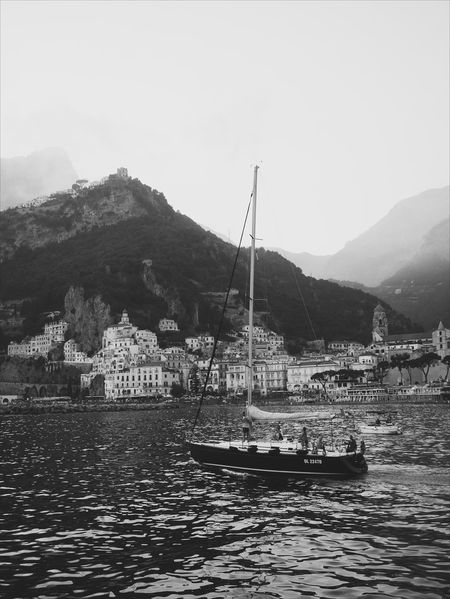 Mountain Water Mountain Range Nature Outdoors Tranquility Nautical Vessel Landscape ıtaly Travel Travel Destinations Amalfi Coast Boat Sailboat Monochrome