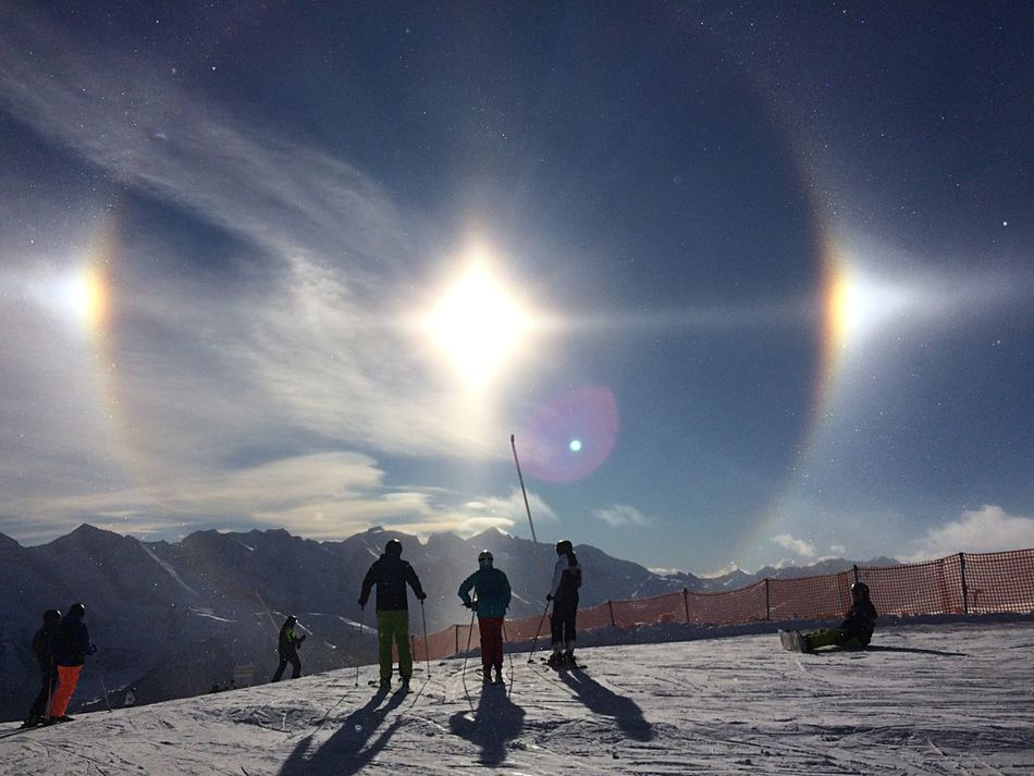 Enjoy The New Normal Halo Halo Effect Leisure Activity Beauty In Nature Scenics Adventure Sun Snow Nature Real People Outdoors Extreme Sports Moon Full Length Winter Cold Temperature Lifestyles Landscape Tranquil Scene Astronomy Sport