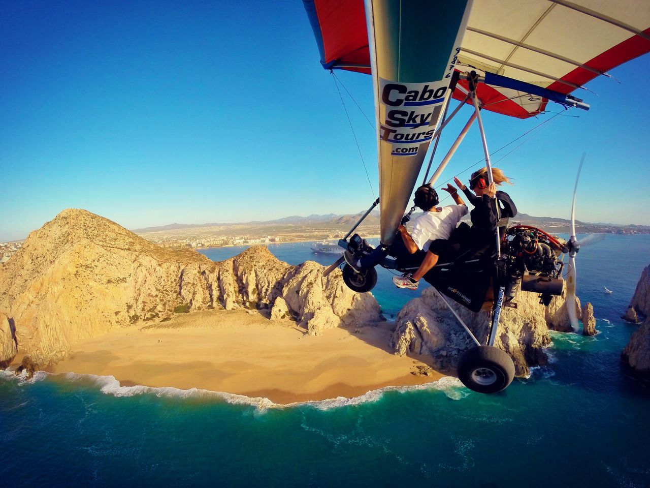 Clear Sky Real People Beauty In Nature Transportation Outdoors Adventure Scenics Landscape Cabo San Lucas Mexico Bajacalifornia Sportextreme Adventure Time Togetherness Travel Determination Adrenaline Adrenaline Junkie Fly Away Skydiving LosCabos Horizon Over Water Beach Water Beauty In Nature