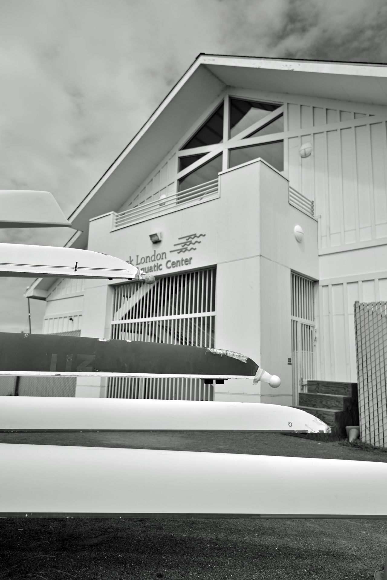Jack London Aquatic Center @ Estuary Park 5 Embarcadero Cove Waterfront Oakland Harbor Rental Facility Jack London Square Marina Pier Aquactic Center Aquatic Soorts Boat Dock Boat Launch Boat Rental Rowing Club Kyacks Racked & Stacked Black And White Black And White Collection  Blackandwhite Photography Geometric Patterns