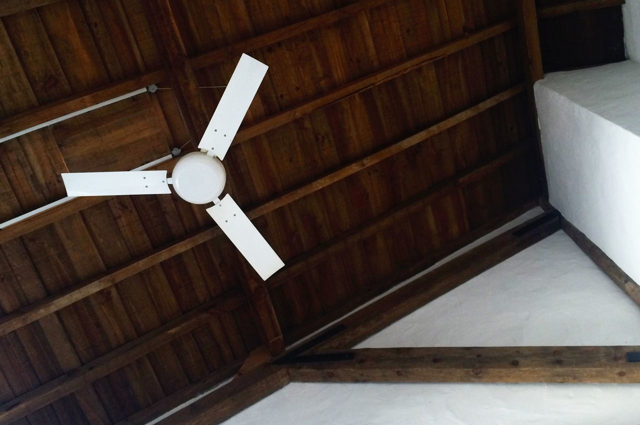 indoors, ceiling fan, wood - material, no people, home interior, close-up, day