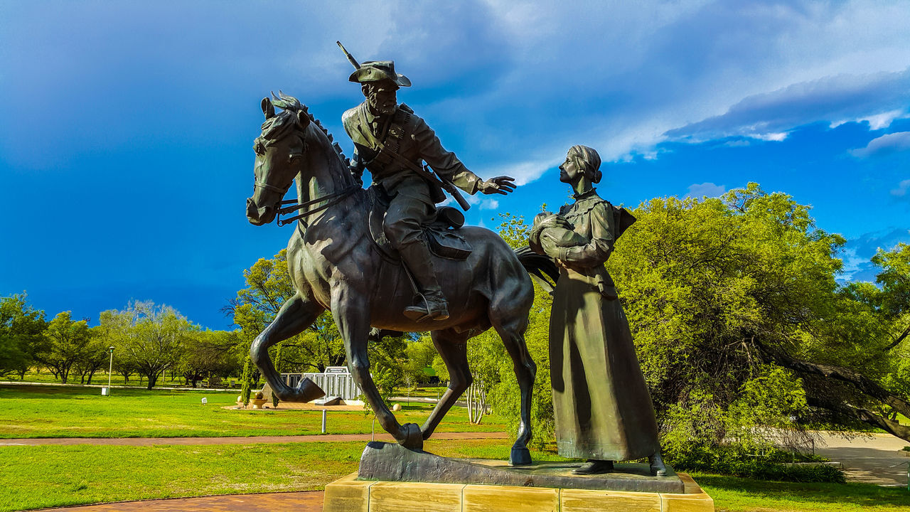 Out of time. Statue Horse Boer War Anglo Boer War Woman Sky Green Grass Gun Millitary Bronze Statue Going Out Goodbye Desperate Times Bayby Monument