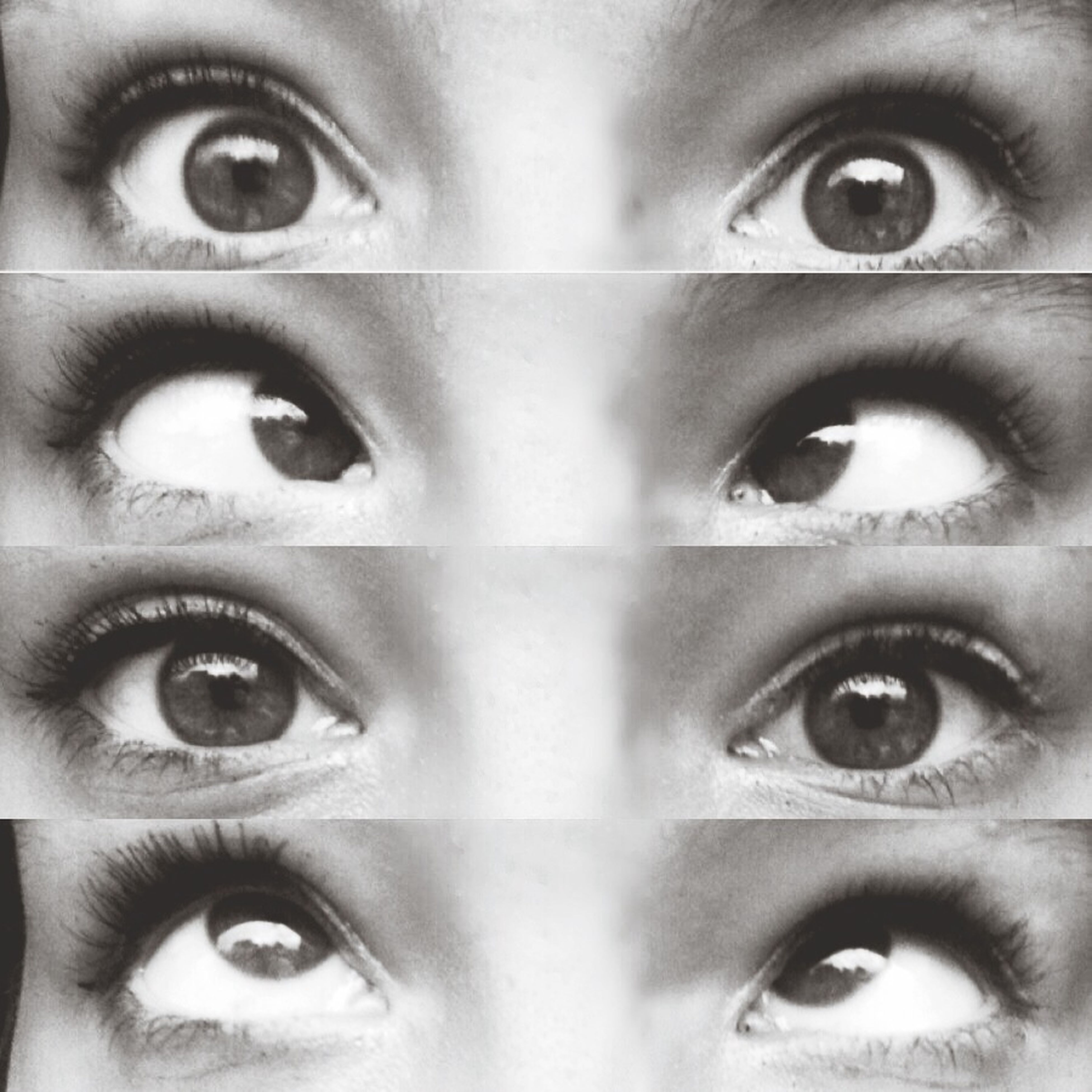 human eye, close-up, indoors, full frame, backgrounds, looking at camera, part of, portrait, human face, eyelash, eyesight, extreme close-up, lifestyles, detail, sensory perception, circle, cropped