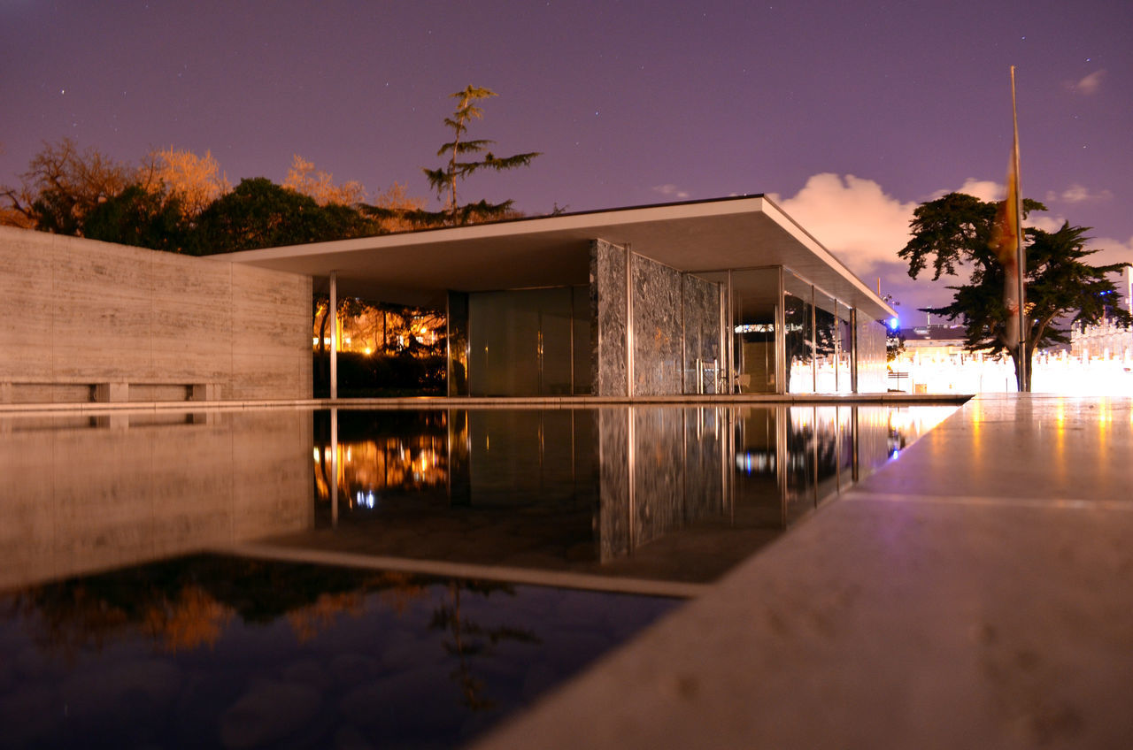 long exposure shots for the German pavilion in Barcelona reflecting on the pool Architecture Barcelona Barcelona Pavilion Built Structure Long Exposure Longexposure Marble Mies Van Der Rohe Minimalism Modernism Nature Night Nightphotography No People Onyx Outdoors Pabellón Alemán De Barcelona Pavilion Reflection SPAIN Travertine Tree Water Water Reflection