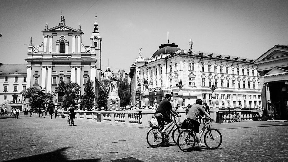 Lubiana Lubljiana City Center Taking Photos Black And White