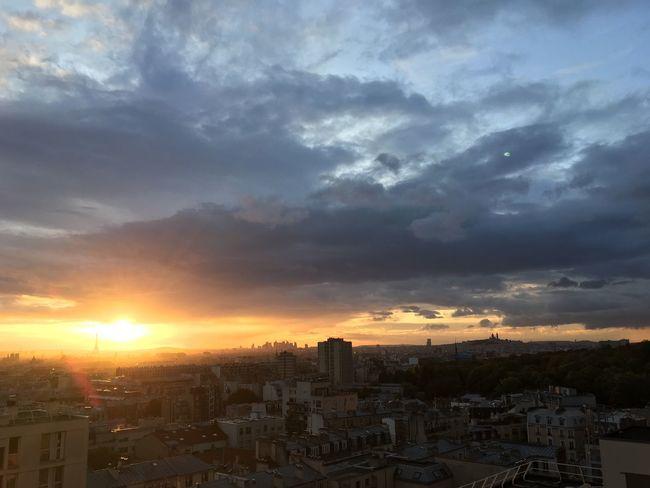 Sunset Sky Cloud - Sky Orange Color No People Sunlight Paris