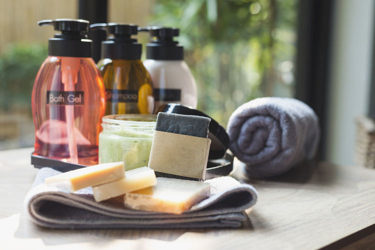 Bathroom amenity set Amenity Bath Time Bathroom Bottle Close-up No People Soap Soap Bar Towel